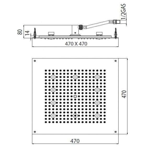 Deszczownica Dream Cube Flat light RGB Cromotherapy - Crystal-1681