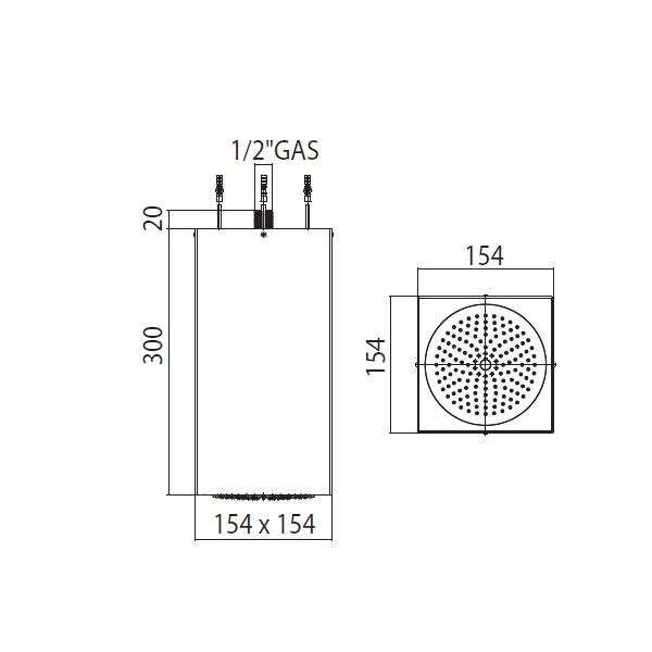 DDeszczownica sufitowa Cube-Inox