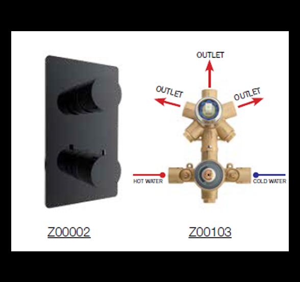 Bateria podtynkowa OKI termostatyczna 3 drożna czarna lub biała