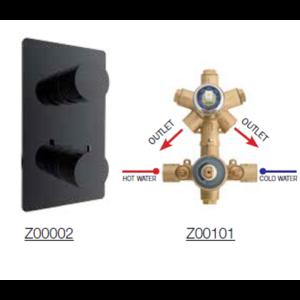Bateria podtynkowa czarny mat termostatyczna 2 drożna