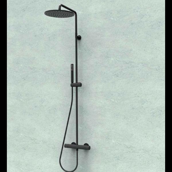 Kolumna COSMO czarny mat mieszacz z deszczownicą o średnicy 280mm